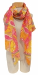 Banaris Cotton Scarf with Abstract Geometric Print - Magenta