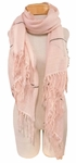 Banaris Cotton Scarf with Knotted Fringe and Pinstripe - Pink SOLD OUT