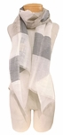 Banaris Linen and Cotton Scarf with Architectural Stripes - Osprey