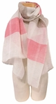 Banaris Linen and Cotton Scarf with Architectural Stripes - Watermelon - SOLD OUT