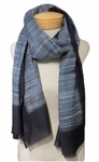 Banaris Merino and Silk Stole w/ Handbrushed Design - Azure