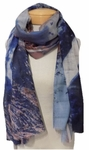Banaris Merino and Silk Stole w/ Abstract and Expressionist Print - Azure/Sienna SOLD OUT