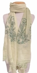 Banaris Washed and Embroidered Cotton Scarf - Pistachio