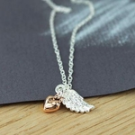 Charlie & Xander Angel Wing & Rose Gold Heart Necklace
