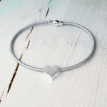 Charlie & Xander Grey Leather & Matte Silver Heart Bracelet