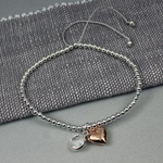 Charlie & Xander Silver Plated Rose Gold Heart & Crystal Bracelet