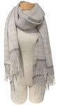 Eileen Fisher Baby Alpaca Patterned Stripe Scarf - Pearl