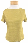 Eileen Fisher Bateau Neck Short Sleeve Cropped Top - Mustard Seed