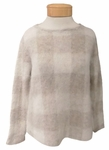 Eileen Fisher Brushed Mohair Checkered Bateau Neck Top - Maple Oat