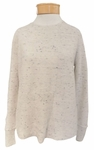 Eileen Fisher Peppered Organic Cotton Wool Round Neck Top - Maple Oat