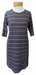 Eileen Fisher Heathered Pencil Stretch Stripe Round Neck Elbow Sleeve Tunic - Denim/Dark Pearl