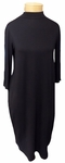 Eileen Fisher Lightweight Viscose Jersey Mock Neck Knee Length Dress - Black  - (Size XS)