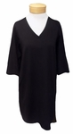 Eileen Fisher Organic Cotton Stretch V-Neck 3/4 Sleeve A-Line Dress - Black SOLD OUT