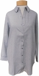 Eileen Fisher Organic Cotton Flannel Twill Classic Collar Long Jacket - Dark Pearl
