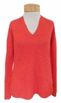 Eileen Fisher Organic Linen Cotton Slub V-Neck Top - Geranium