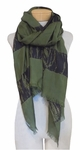 Eileen Fisher Silk Shibori Block Stripe Scarf - Olive