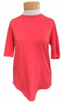Eileen Fisher Slubby Organic Cotton Round Neck Elbow Sleeve Tee - Strawberry - SOLD OUT