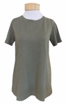 Eileen Fisher Slubby Organic Jersey Jewel Neck Short Sleeve  Tee - Olive