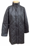 Eileen Fisher Quilted Diamond Stand Collar Long Jacket - Black