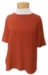 Eileen Fisher Tencel Viscose Round Neck Short Sleeve Top - Paprika