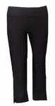 Eileen Fisher Washable Stretch Crepe Slim Cropped Pant With Side Slits - Black