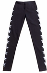 Hard Tail Flat Waist Star Ankle Legging - Black - RESTOCKED