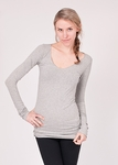Hard Tail Long Skinny Sexy V-Neck Tee - Heather Grey