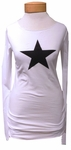 Hard Tail Long Skinny Star Tee - White - SOLD OUT