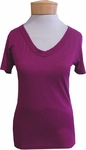 Hard Tail Basic Sexy V-Neck Tee - Berry - (Size S)