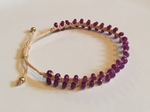 Satori Rue Beaded Friendship Bracelet - Purple on Cream