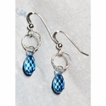 Sosie Diamond Cut Earrings w/Aqua Briolette