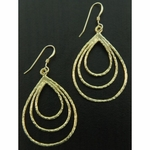 Sosie Gold Hammered Triple Oval Earrings - SOLD OUT