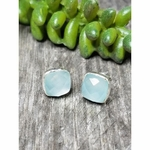 Sosie Sterling Gold Cushion Studs - Aqua Chalcedony SOLD OUT