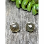 Sosie Sterling Silver Cushion Studs-Labradorite - SOLD OUT