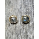 Sosie Vermeil Gold Cushion Studs - Labradorite (SOLD OUT)