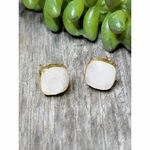 Sosie Vermeil Gold Cushion Studs - Rainbow Moonstone - SOLD OUT
