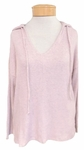 Velvet Imena Cozy Ribbed V-Neck Hoodie - Blush