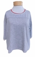 Velvet Fay 3/4 Sleeve Ringer Top - Heather Grey