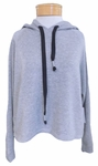 Velvet Gala Cropped Cozy Hoodie - Heather Grey