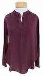 Velvet Rosie Split Neck Blouse - Plum