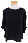 Velvet Wrenly Lace Inset Elbow Sleeve Top - Black