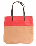 Velvet Yasmin Leather Tote - Tan/Red - SOLD OUT