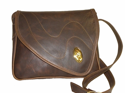 Leather Handbag # 55 Dark Brown<br>