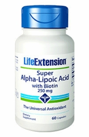 Super Alpha Lipoic Acid with Biotin (250 mg) - Life Extension - 4-Pak