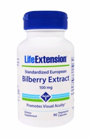 Standardized European Bilberry Extract (100 mg) - Life Extension - 100 vegetarian capsules
