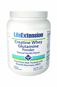 Creatine Whey Glutamine Powder - Life Extension - Vanilla Flavor (908 gr/2 lb.) - TwinPak
