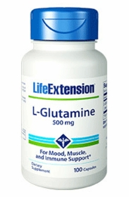 L-Glutamine 100 Capsules (500 mg) - Life Extension - TwinPak