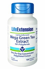 Mega Green Tea Extract - Life Extension - 100 Veg Capsules Lightly Caffeinated - TwinPak