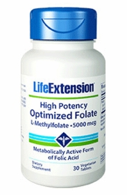 High Potency Optimized Folate L-Methylfolate, 5000 mcg - Life Extension - 30 Vegetarian Tablets