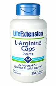 L-Arginine Capsules (700 mg) - Life Extension - 200 Vegetarian Caps